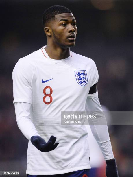 Ainsley MaitlandNiles of England U21 looks on during the international friendly match between England U21 and Romania U21 at Molineux on March 24...