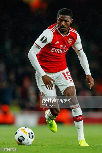 Ainsley MaitlandNiles of FC Arsenal controls the ball during the UEFA Europa League group F match between Arsenal FC and Standard Liege at Emirates...