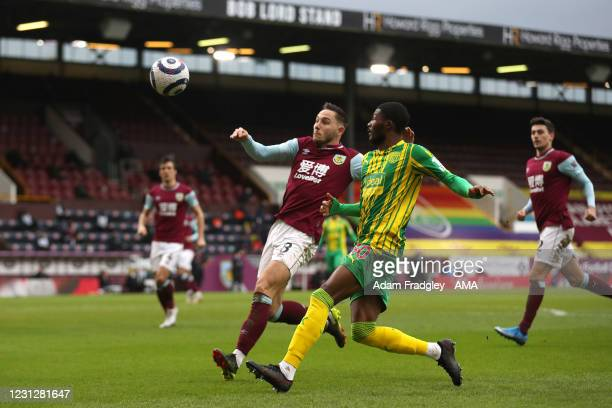 Ainsley Maitland-Niles of West Bromwich Albion and Josh Brownhill of Burnley during the Premier League match between Burnley and West Bromwich Albion...