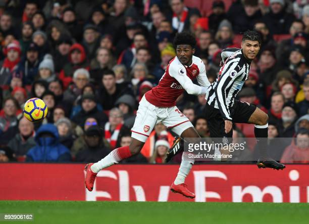 Ainsley MaitlandNiles takes on DeAndre Yedlin of Newcastle of Arsenal during the Premier League match between Arsenal and Newcastle United at...