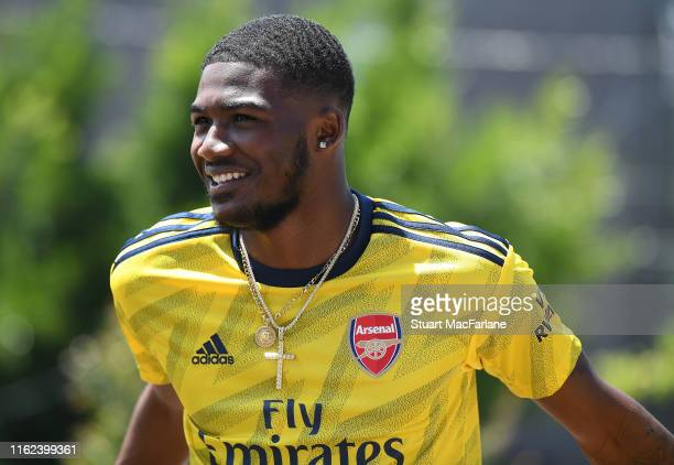 Ainsley MaitlandNiles takes part in a photo shoot to launch the new Arsenal 2nd kit on July 13 2019 in Los Angeles California