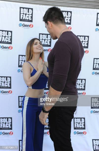 Ainsley Ross and Jesse Kove attend the BOLDFACE Gear Launch Party By ConnectHER Media on March 24 2019 in Los Angeles California