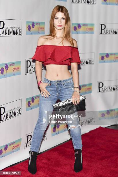 Ainsley Ross arrives at the Boys of Summer Tour Kick Off Show at Whisky a Go Go on July 21 2018 in West Hollywood California