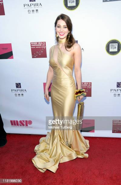 Ainsley Ross attends the 4th annual Roger Neal Oscar Viewing Dinner Icon Awards and after party at Hollywood Palladium on February 24 2019 in Los...
