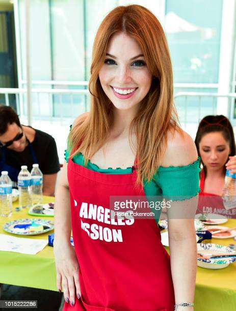 Ainsley Ross poses at the Los Angeles Mission's End of Summer Art and Education Fair at Los Angeles Mission on August 11 2018 in Los Angeles...