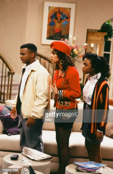 AIR Ain't No Business Like Show Business Episode 22 Pictured Alfonso Ribeiro as Carlton Banks Karyn Parsons as Hilary Banks Tatyana Ali as Ashley...