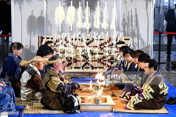 Ainu indigenous people hold the 'Kamuinomi' ritual in pray for the success of the Winter Asian Games Sapporo at the Sapporo City Hall on February 6...