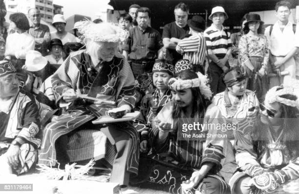 Ainu people attends the 'Ashiricheppunomi' ritual to welcome new salmon season on September 15 1993 in Sapporo Hokkaido Japan