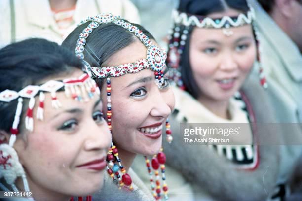 Ainu people hold an 'Ashiricheppunomi' ceremony to welcome new salmon season at Toyohiragawa River on September 15 1987 in Sapporo Hokkaido Japan