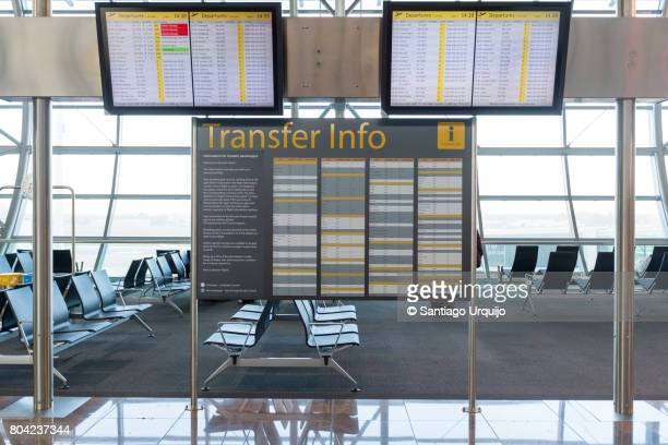 Aiport departure boards at Zaventem airport