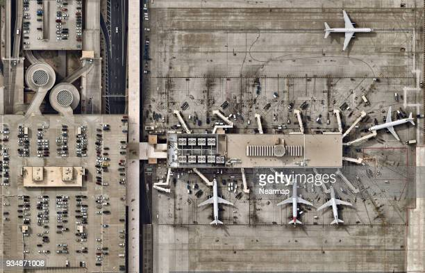 Aiport terminals with planes moving to runway
