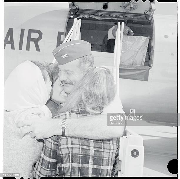 Air Ace Greeted Washington DC Colonel Robin Olds holder of the record for the number of Communist Migs downed in North Vietnam with four to his...