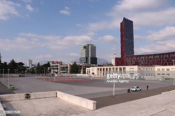 """Air Albania"""" national Arena and its surrounding remains empty during a nationwide curfew imposed as part of precautions against the coronavirus..."""