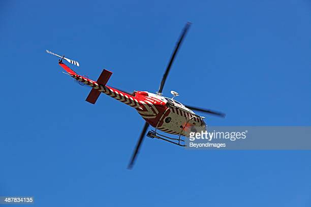Air ambulance helicopter evacuates rural accident victim to hospital
