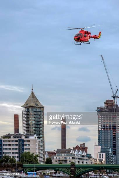 Air Ambulance Overhead Chelsea & Kensington Skyscrapers.