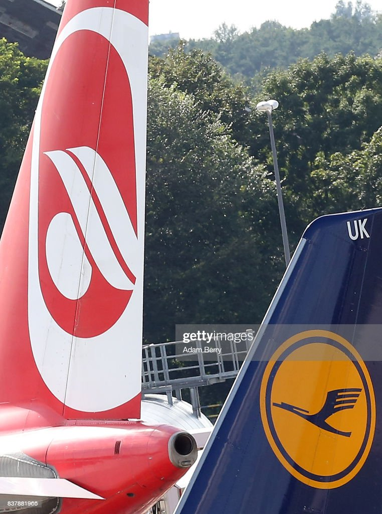 Air Berlin (L) and Lufthansa airplanes are seen on the tarmac at Tegel Airport (TXL) on August 23, 2017 in Berlin, Germany. Air Berlin's creditors are meeting to discuss acquisition of the insolvent carrier's assets. The airline has been in talks with interested parties since last week after filing for bankrupty when its major shareholder, Etihad, backed out of its funding. Lufthansa, also interested in Air Berlin's Austrian subsidy Niki, Thomas Cook, easyJet and Ryanair are all said to be participating in discussions.