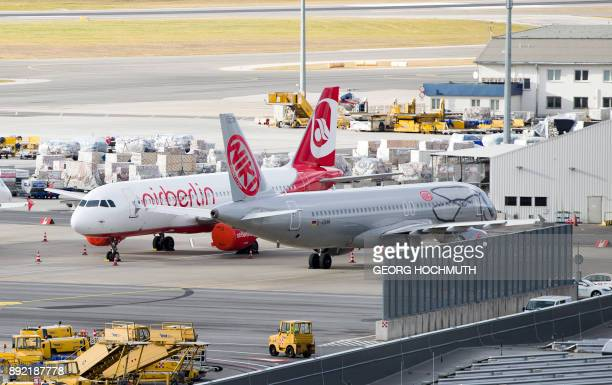 Air Berlin and Niki aircrafts stand on the tarmac at the Vienna International Airport in Schwechat Austria on December 14 2017 Austria said it has...