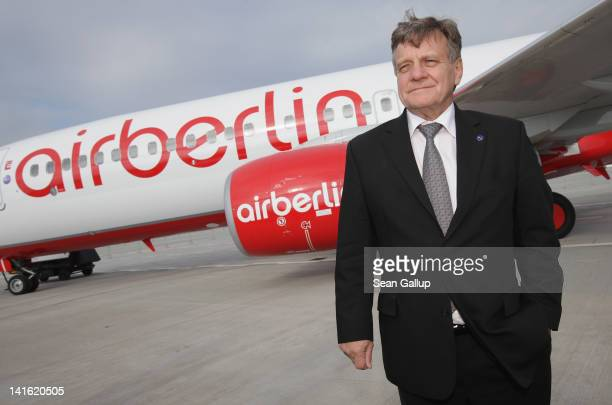 Air Berlin CEO Hartmut Mehdorn stand next to an Air Berlin passenger plane after he signed a document confirming Air Berlin's acceptance into the...