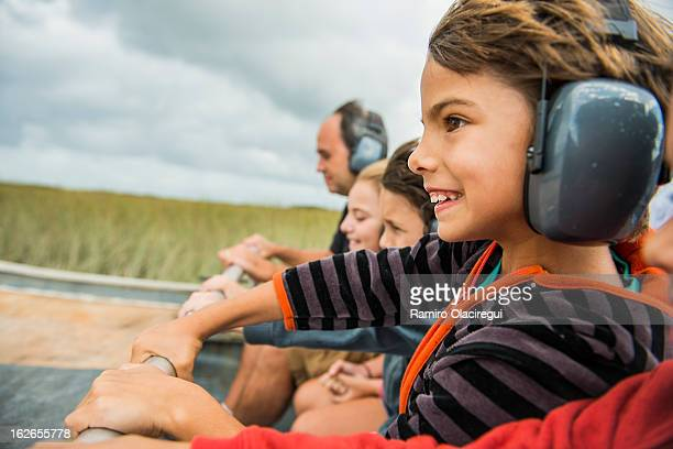 Air boat on the everglades with kids
