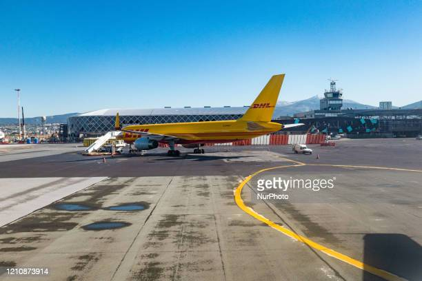 DHL Air Boeing 757 Cargo airplane as seen during the day with the cargo door open at Thessaloniki International Airport Makedonia SKG LGTS in Greece...