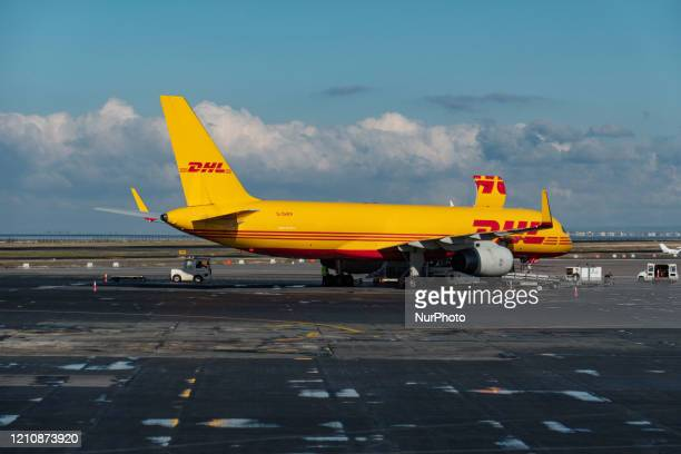 Air Boeing 757 Cargo airplane as seen during the day with the cargo door open at Thessaloniki International Airport Makedonia SKG LGTS in Greece. The...