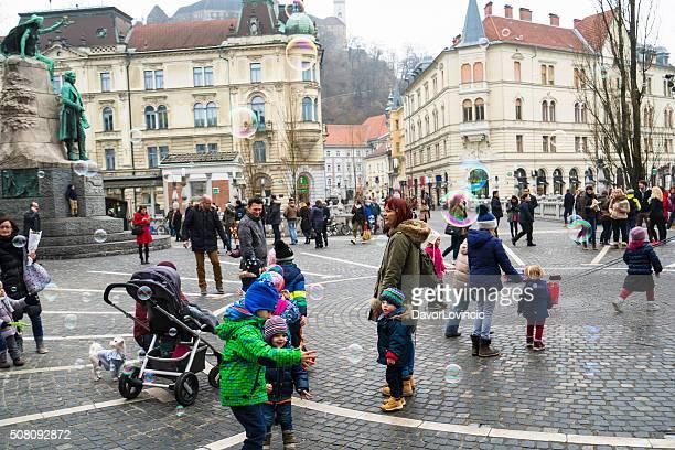 Air bubbles in centre of Ljubljana on winter day