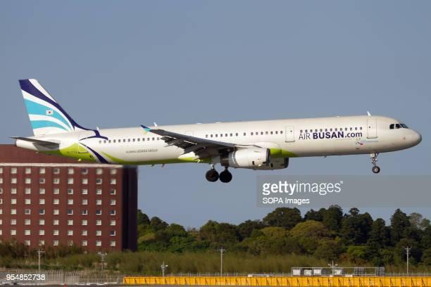 Air Busan Airbus 321 landing at Tokyo Narita airport