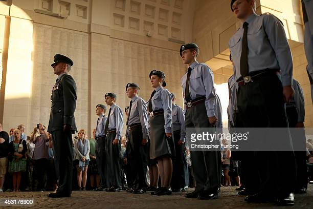 Air Cadets from Motherwell Scotland stand to attention during the playing of the Last Post at the Menin Gate Memorial to the Missing on August 4 2014...