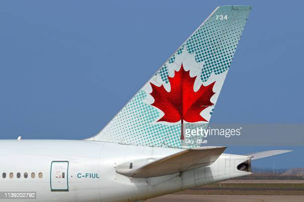 air canada aircraft tail - air canada stock pictures, royalty-free photos & images