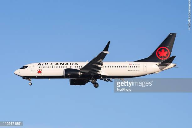 Air Canada Boeing 737 MAX 8 landing at London Heathrow International Airport LHR EGLL with nice blue sky weather The aircraft has 2X LEAP engines and...