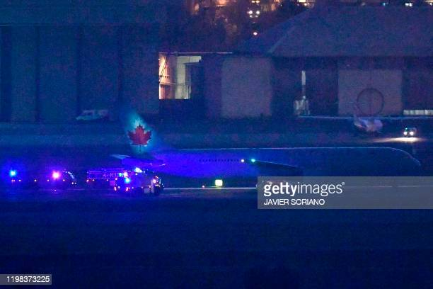 Air Canada Boeing 767 aircraft makes an emergency landing at MadridBarajas Adolfo Suarez Airport on February 03 2020 in Madrid following a technical...