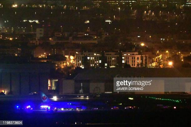 A Air Canada Boeing 767 aircraft makes an emergency landing at MadridBarajas Adolfo Suarez Airport on February 03 2020 in Madrid following a...