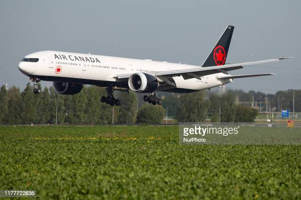 Air Canada Boeing 777300 aircraft as seen on final approach landing at Amsterdam Schiphol International Airport AMS EHAM in The Netherlands The...