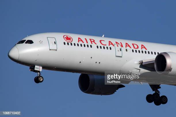 Air Canada Boeing 7879 Dreamliner landing at London Heathrow LHR airport The aircraft is flying since April 2016 and has the registration CFGFZ Air...