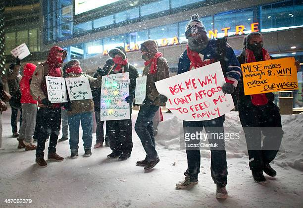 Air Canada Centres employees picketed outside of the ACC prior to the Maple Leaf game on Saturday December 14 2013 The Teamster union members are on...