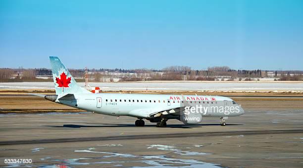 Air Canada passenger plane on Edmonton, Alberta, runway