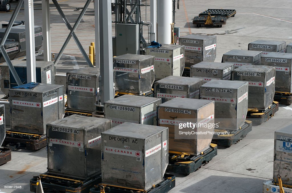 Air Canada Shipping Containers : Stock Photo