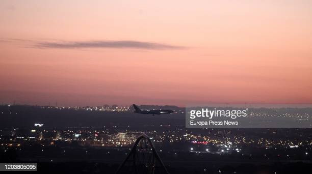 Air Canada's plane just before landing at Madrid's Barajas Airport on February 03 2020 in Madrid Spain