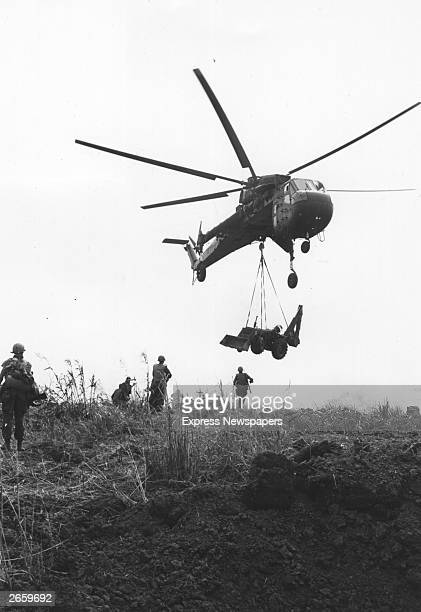 Air Cavalry being moved from Command Post Stud to Khe Sanh landing zone using a Sikorsky S64 Skycrane