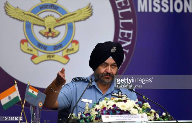 Air Chief Marshal Birender Singh Dhanoa addresses a press conference ahead of the Air Force Day at Akash Air Force Officer Mess on October 3 2018 in...