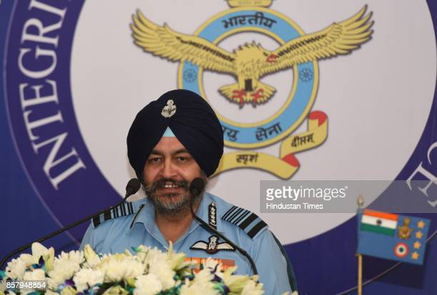 Air Chief Marshal Birender Singh Dhanoa PVSM AVSM YSM VM ADC addressing the media on the 85th Anniversary of Indian Air Force at Aashash Bhawan on...