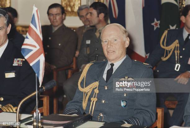 Air Chief Marshal Brian Burnett of the Royal Air Force and Commander in Chief Far East Command pictured attending a Southeast Asia Treaty...