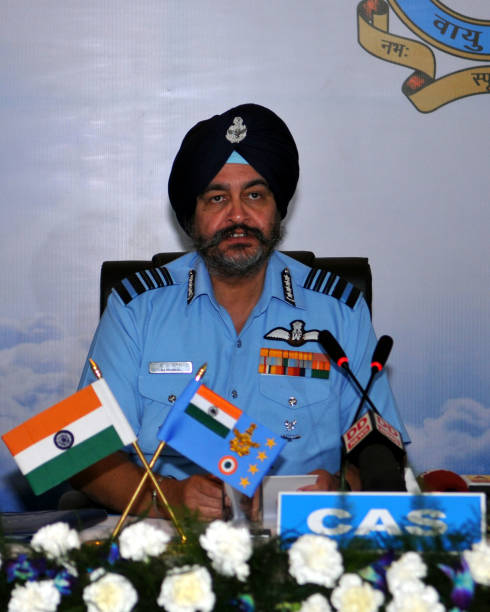 Air chief marshal BS Dhanoa addressing the media at Adampur air force station on November 16 2017 near Jalandhar India President Ram Nath Kovind...