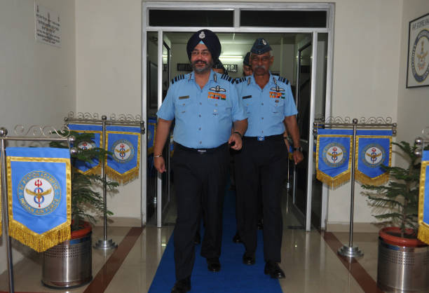 Air chief marshal BS Dhanoa comes out after address the media at Adampur air force station on November 16 2017 near Jalandhar India President Ram...