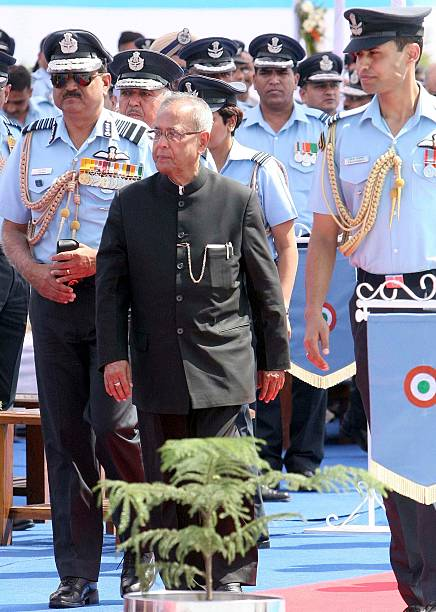 Air Chief Marshal NAK Browne along with Supreme Commander of Defense Forces President of India Pranab Mukherjee during the award ceremony of...