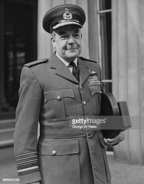 Air Chief Marshal Sir Harry Broadhurst of the RAF leaves Buckingham Palace after being created a Knight Grand Cross of the Most Honourable Order of...