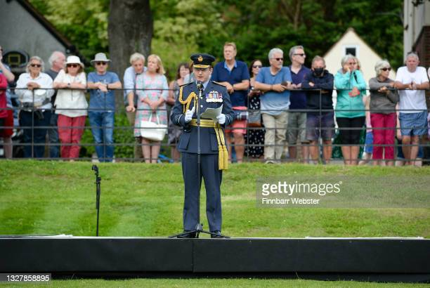 Air Chief Marshal Sir Mike Wigston speaks before The Secret Spitfires Memorial is unveiled at the Salisbury Rugby Club on July 09, 2021 in Salisbury,...