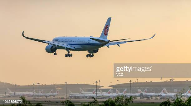 Air China's first Airbus A350 is about to arrive at Beijing Capital International Airport on August 9 2018 in Beijing China Air China took delivery...