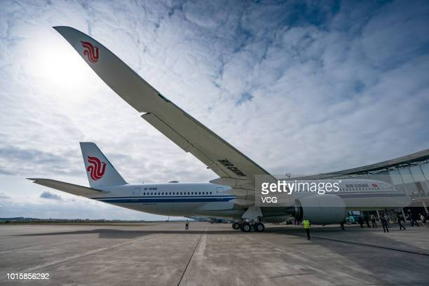 Air China's first Airbus A350 is seen at Toulouse Blagnac Airport on August 8 2018 in Toulouse France Air China took delivery on Wednesday of its...