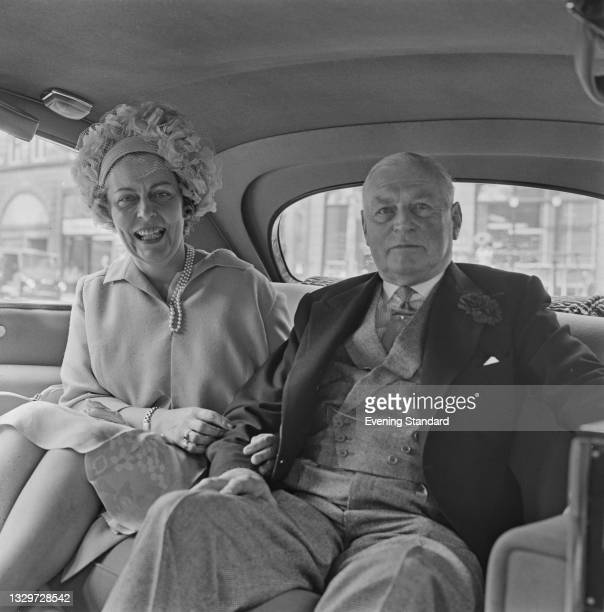 Air Commandant Dame Jean Conan Doyle of the Women's Royal Air Force marries Air Vice-Marshal Sir Geoffrey Rhodes Bromet of the RAF in London, UK,...